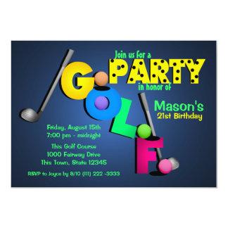 Nachtglühen-Golf-Party 12,7 X 17,8 Cm Einladungskarte