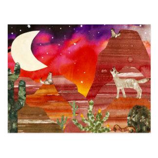 Nachtlied-Kojoten Postkarte