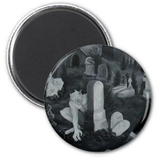 Nachts auf dem Friedhof - Teufel Runder Magnet 5,7 Cm