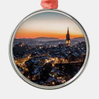 NachtSkyline Berns die Schweiz Rundes Silberfarbenes Ornament