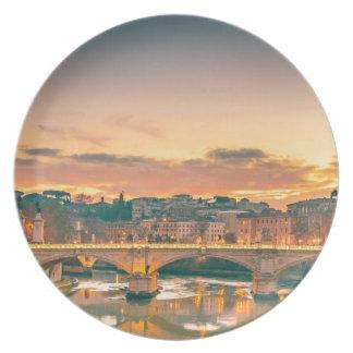 Nachtszene in Tiber-Fluss-Rom-Stadtbild Melaminteller