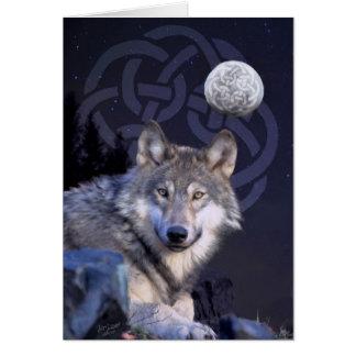 Nachtwolf mit keltischem Knoten Karte