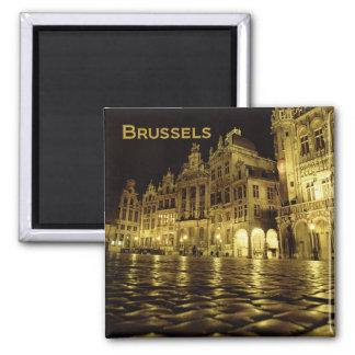 Nachtzeit-Andenken-Kühlschrankmagnete Brüssels Bel Quadratischer Magnet