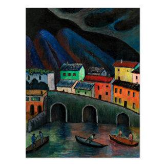 Nachtzeit-Fischen in Ascona Postkarte