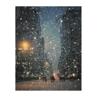 Nachtzeit-Stadt-Schneefälle Holzwanddeko