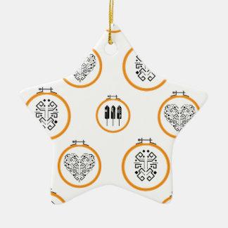 Nadelspitzenstickereirahmen Keramik Stern-Ornament