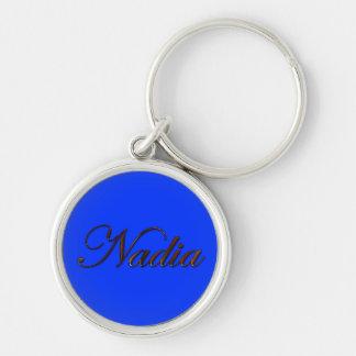 NADIA Name-Brannte Geschenk Keychain oder Reißvers Silberfarbener Runder Schlüsselanhänger