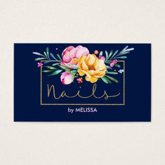 Nagel-Moderner bunter Blumen-Blumenstrauß Visitenkarte