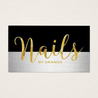 Nageln Sie Salon-Goldskript-modernes Schwarzes u. Visitenkarte
