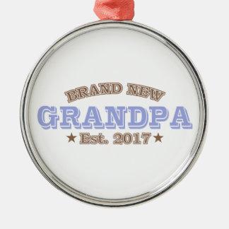 Nagelneuer Großvater Est. 2017 (lila) Silbernes Ornament