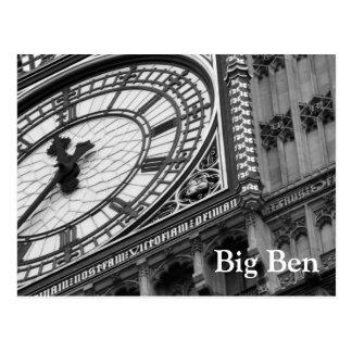 Nah oben auf Big Ben in Schwarzweiss Postkarte