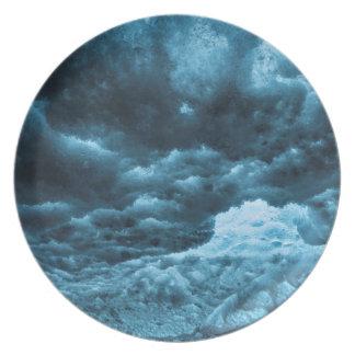 Nah oben vom blauen Eis, Island Melaminteller