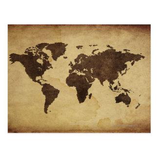 Nah oben von antiker Weltkarte 3 Postkarte
