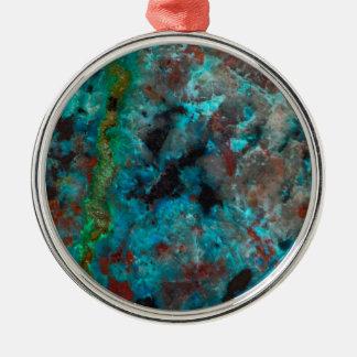 Nah oben von blauem Shattuckite Silbernes Ornament