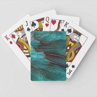 Nah oben von den blauen Flügelfedern Spielkarten