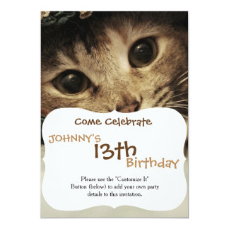 Nah oben von den Katzenaugen eines Tabby 12,7 X 17,8 Cm Einladungskarte