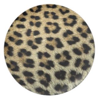 Nah oben von den Leopardstellen, Afrika Melaminteller