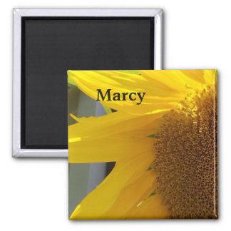 Nah oben von der gelben Sonnenblume Quadratischer Magnet