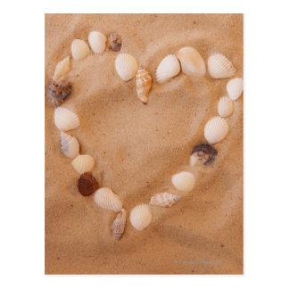 Nah oben von der Herzform gemacht von den Muscheln Postkarte