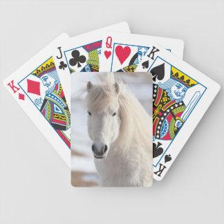 Nah oben von einem weißen isländischen Pferd Bicycle Spielkarten