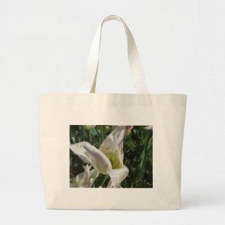 Nahaufnahme der weißen Iris-Blume mit Tröpfchen Jumbo Stoffbeutel