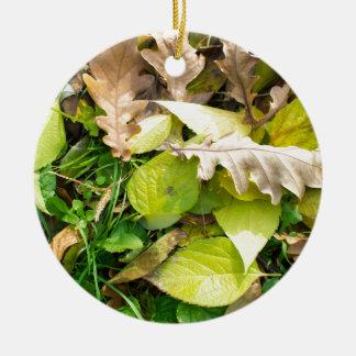 Nahaufnahmeansicht über gefallenes Herbst-Blätter Keramik Ornament