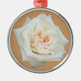 Nahe hohe Ansicht einer schönen weißen Rose Silbernes Ornament