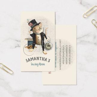 Nähende Mäuseviktorianische inspirierte Visitenkarte