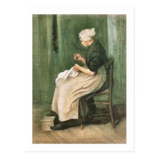 Nähende Scheveningen-Frau, Van- Goghschöne Kunst Postkarte