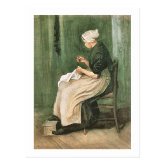 Nähende Scheveningen-Frau, Vincent van Gogh Postkarten