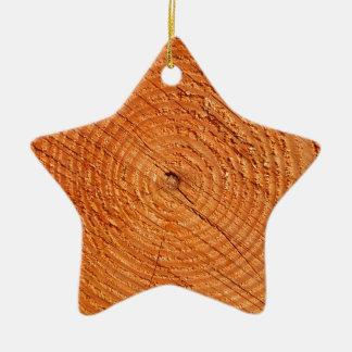 Nahes hohes der Jahresringe des Baums Keramik Stern-Ornament