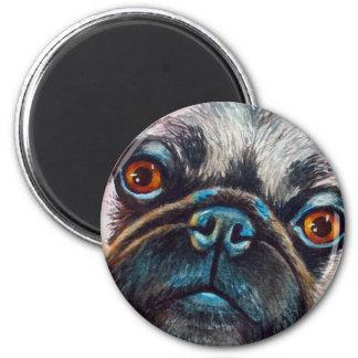 Nahes hohes des Mops-Gesichtes Runder Magnet 5,1 Cm