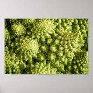 Nahes hohes des Romanesco Brokkoli-Gemüses Poster