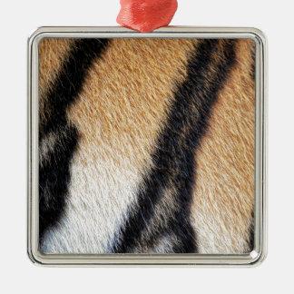 Nahes hohes Foto der Tiger-Streifen Quadratisches Silberfarbenes Ornament