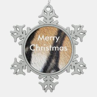 Nahes hohes Foto der Tiger-Streifen Schneeflocken Zinn-Ornament