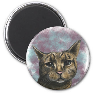 Nahes hohes Tabby-Katzen-realistisches Zeichnen Runder Magnet 5,7 Cm