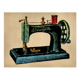 Nähmaschine-Vintage Illustration Postkarte