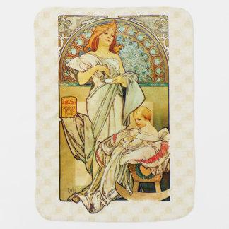 Nahrung 1898 Alfons Mucha für Säuglinge Kinderwagendecke