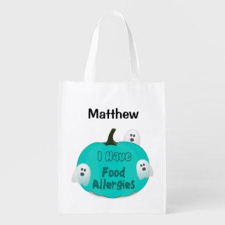 Nahrungsmittelallergie-aquamarine Wiederverwendbare Einkaufstasche
