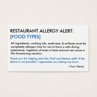 Nahrungsmittelallergie-Restaurant u. EIS Karte