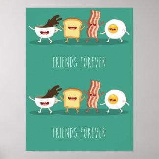 NahrungsmittelHipster, Muster, Freunde für immer, Poster