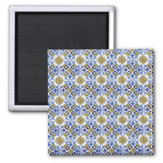Nahtlose Azulejo Kunst-Fliese Quadratischer Magnet