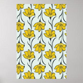 Nahtlose Blumen-Butterblume-elegantes Muster Poster