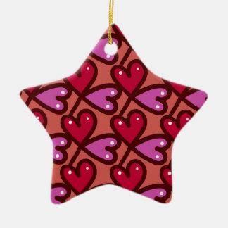 Nahtlose Herzen #2 Keramik Stern-Ornament