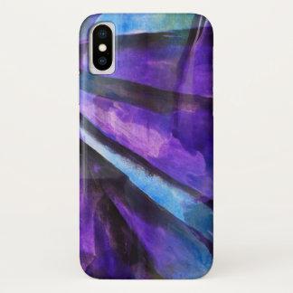 nahtloser Kubismus lila, blaue abstrakte Kunst iPhone X Hülle