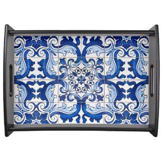 Nahtloses Azulejo Blumenmuster Tablett