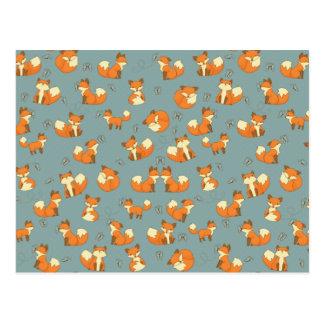 Nahtloses Fox- und Schmetterlings-Muster Postkarte