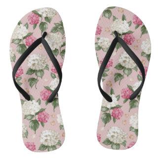 Nahtloses mit Blumenmuster des weißen rosa Flip Flops