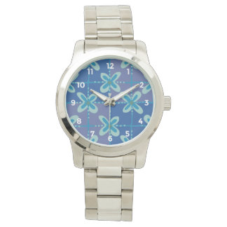 Nahtloses Muster des blauen Armbanduhr