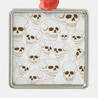 nahtloses Muster mit Schädeln 3,2 Silbernes Ornament